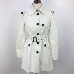 NWT BCBG White Cotton Belted Long Pea Coat